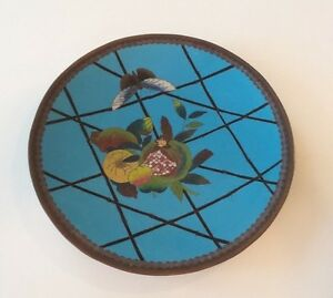 19th C Antique Chinese Cloisonne On Bronze 12 Charger Meiji Period W Fruit