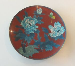 Antique Chinese Cloisonne On Brass 9 25 Plate Charger Butterfly Flowers
