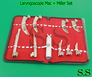 Laryngoscope Mac Miller Set 9 Blades And 1 Handle Emt Anesthesia Intubation