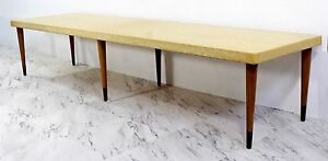 Mid Century Modern Paul Frankl Long Low Cork Wood Brass Coffee Table Or Bench