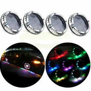 4x Colorful Led Solar Car Wheel Signal Tire Air Valve Cap Light Flash Decor Lamp