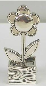 925 Sterling Silver Flower Card Holder For Women Desk Gift Home And Office New