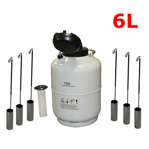 6l Liquid Nitrogen Tank Cryogenic Container Ln2 Dewar 6pcs Pails lock Cover New