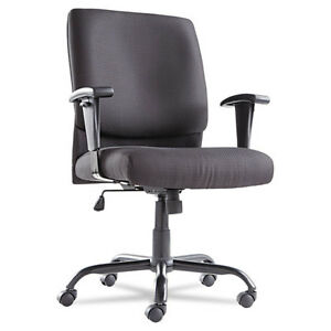 Big And Tall Swivel tilt Mid back Chair Height Adjustable T bar Arms Black