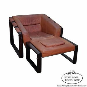 Percival Lafer Mid Century Modern Rosewood Frame Leather Lounge Chair W Ottoman