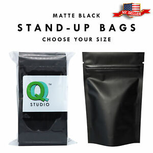 Variety Of Sizes For 100pcs Matte Black Metallic Foil Stand up Zip Lock Bags