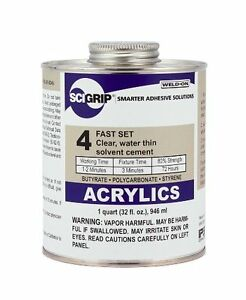Quart 32 Oz Ips Scigrip Weld on 4 Solvent Acrylic Plexiglass Glue Weldon