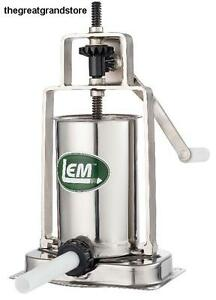 Lem Products 5 Pound Stainless Steel Vertical Sausage Stuffer Base Metal Piston