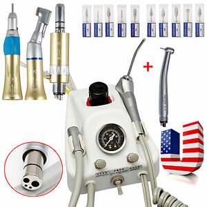 Dental Portable Air Turbine Unit High Speed slow Speed Handpiece drill Burs 10