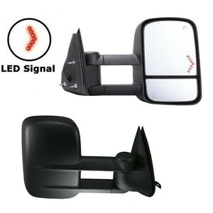 For 03 06 Chevy Silverado Sierra Tahoe Power Heated Led Arrow Signal Tow Mirrors