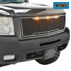 Eag 07 10 Silverado 2500 3500 Mesh Grille Front Hood Abs With 3 Led Lights