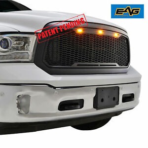 Eag Abs Matte Black Led Mesh Replacement Grille For 13 18 Dodge Ram 1500