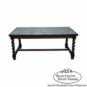 Antique Arts Crafts Oak Barley Twist Green Tile Top Dining Table