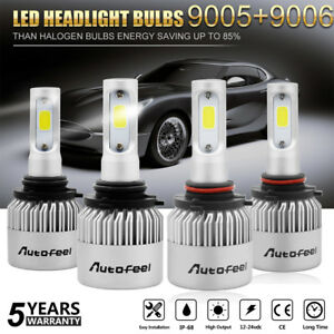 9006 9005 4pcs Led Total 300w 30000lm Combo Headlight High 6500k White Kit Bulbs
