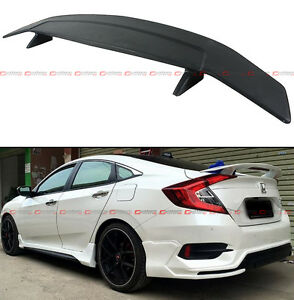 For 2016 18 Honda Civic X 10th Gen R Style Rear Trunk Spoiler Wing W Led Brake