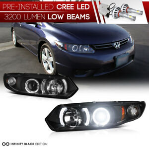 Led Low Beam 06 11 Honda Civic 2d Coupe Fg Angel Eye Projector Headlights Lamp