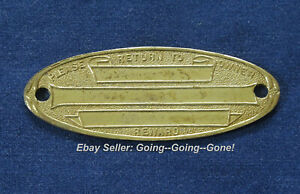 Antique 1900 S Brass Id Plaque For Travel Trunks Luggage Return For Reward Oval