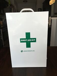 Lawson Products 3 Shelf Metal First Aid Wall Mountable Cabinet White empty
