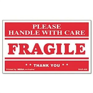 Fragile Handle With Care Self adhesive Shipping Labels 3 X 5 500 roll 2 Pack