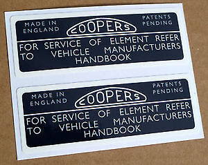 Classic Style Coopers Air Filter Housing Decals Labels Mgb Mgbgt
