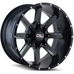 Cali Off road 9100 Busted 20x9 5x5 5 5x150 Et 0 Blk milled Spokes qty Of 4