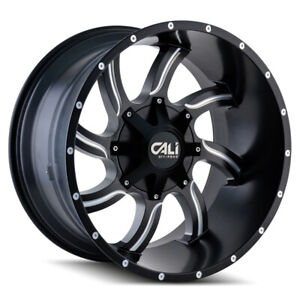 Cali Off road 9102 Twisted 20x12 8x180 Et 44 Satin Blk milled Spokes qty Of 4