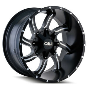 Cali Off road 9102 Twisted 20x9 8x180 Et 18 Satin Blk milled Spokes qty Of 4
