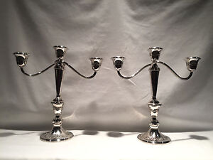 Pair Of Gorham Sterling Silver Weighted 890 Single 3 Lite Candlesticks