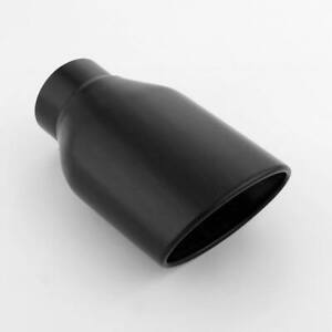 2 5 In Oval Black Vacuum Plated Resonator Slant Out Stainless Steel Exhaust Tip