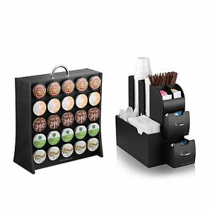 Coffee Condiment Organizer Caddy And K cup Display Rack Combo Office Home Gather