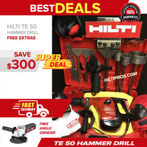Hilti Te 50 Hammer Drill Preowned Free Grinder Chisels Extras Quick Ship