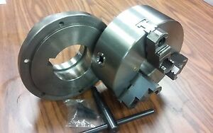 8 3 jaw Self centering Lathe Chuck Top Bottom Jaws W L1 Adapter Back Plate