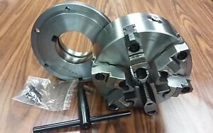 8 6 jaw Self centering Lathe Chuck W Top bottom Jaws L1 Adapter Back Plate