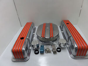 S B Chevy Tall Orange Fin Val Cover Center Fin Breather Combo Kit Cr X076 1