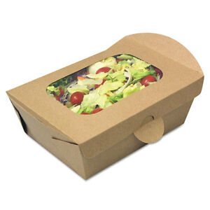Windowed Food Container Kraft 4 32 X 3 62 X 3 07 50 pack 4 Pack carton