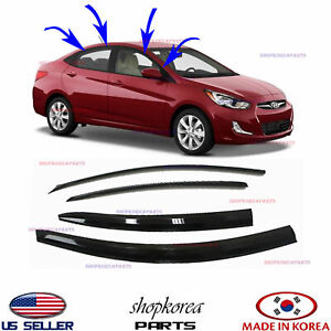 Smoked Door Visor Window Sun Vent Deflector Hyundai Accent Sedan 2012 2017