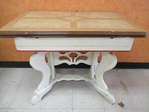 Vintage Porcelain Enamel Table With Extensions Wooden Base