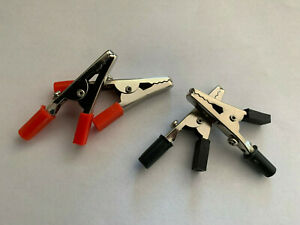 4 Pc Alligator Clips With Red Insulated Handle Best For Electronic Testing Diy