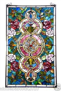 32 Victorian Florals Tiffany Style Engulfed Stained Glass Window Panel