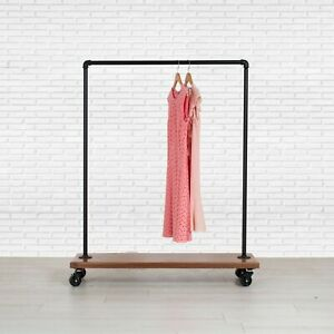 Industrial Pipe Rolling Clothing Rack With Cedar Wood Shelf On Wheels