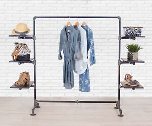 Industrial Pipe Clothing Rack With Wood Side Shelves By William Robert s Vintage