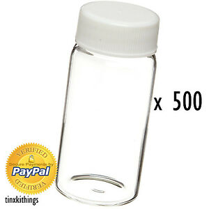 Clear Scintillation Glass Vial 20ml 500pc Bottle Cap Science Lab Sample Storage