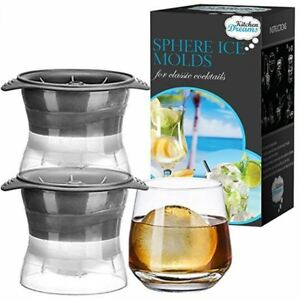 Set of 2 Sphere Ice Ball Maker Mold 2.5 INCH Round Ice Cube Balls Kitchen Dreams