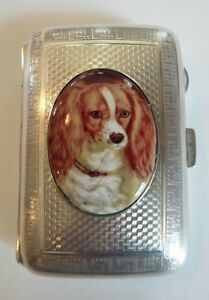 English Sterling Silver Cigarette Case Enamel King Charles Spaniel C 1922