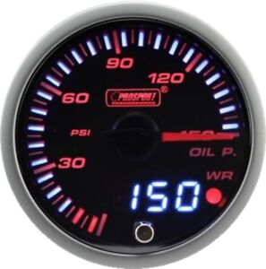 Prosport 60mm Jdm Series Amber Red White Led Warning Oil Pressure Gauge Psi