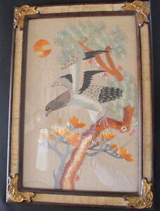 Vintage Asian Japanese Eagle On Branch Embroidery On Silk Famed