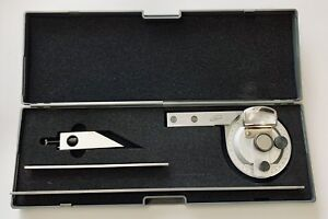 Universal Bevel Protractor With 6 And 12 Blades Stainless Case Igaging Usa