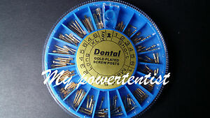 5 Boxes Of Dental Assorted Conical Gold Plated Screw Posts 240 Posts box
