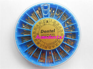 5 Boxes Of Dental Assorted Conical Gold Plated Screw Posts 120 Post box