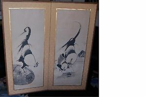 Rare Antique Japanese Byobu Screen Rooster Hen Original Art